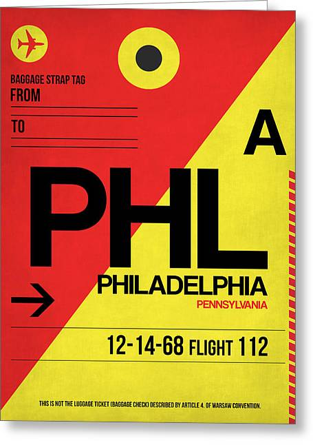 Philadelphia Luggage Poster 2 Greeting Card by Naxart Studio