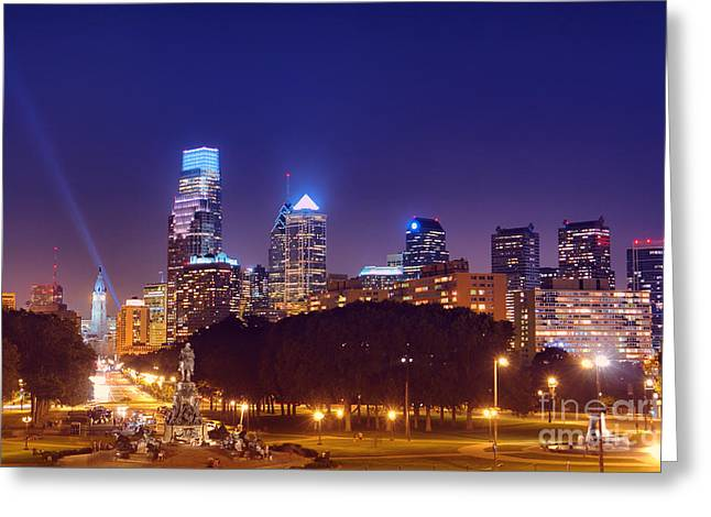 Philadelphia Nightscape Greeting Card by Olivier Le Queinec