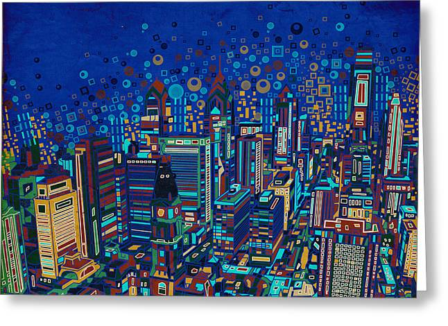 Philadelphia Panorama Pop Art 2 Greeting Card