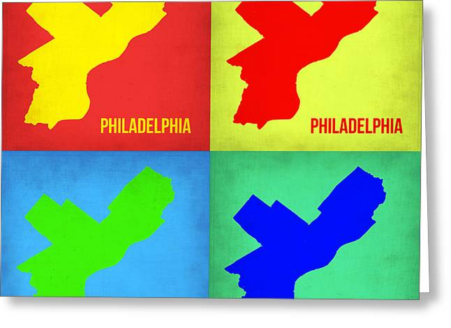 Philadelphia Pop Art Map 1 Greeting Card by Naxart Studio