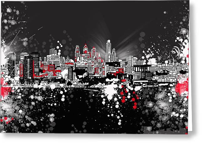 Philadelphia Skyline Abstract 5 Greeting Card