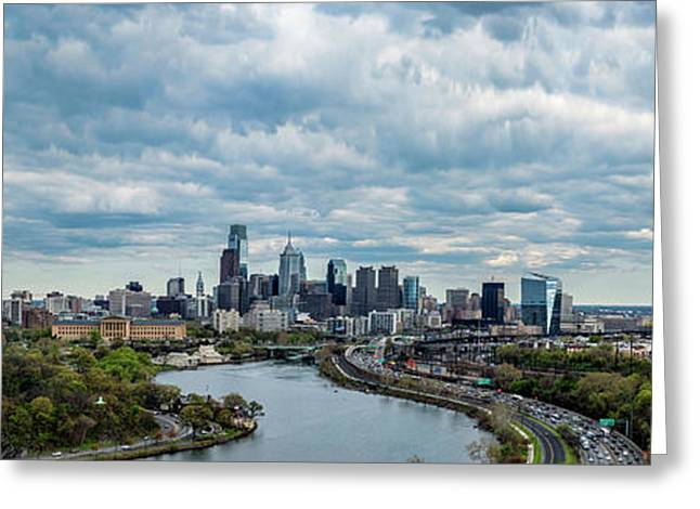 Philadelphia Skyline At Waterfront Greeting Card by Panoramic Images