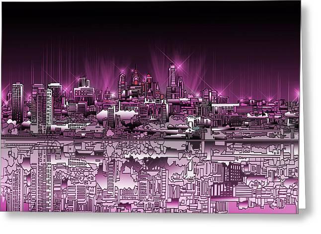 Philadelphia Skyline  Gradient 2 Greeting Card