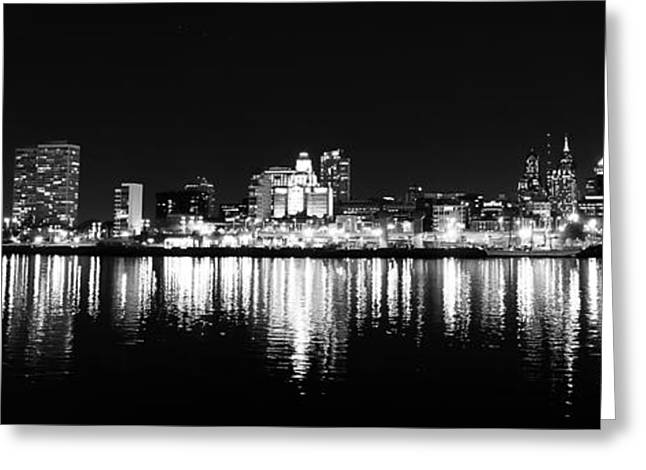 Philadelphia Skyline Panorama In Black And White Greeting Card by Bill Cannon