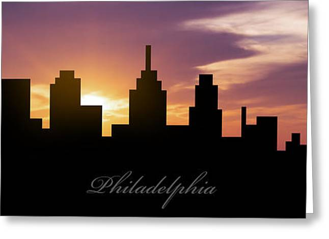 Philadelphia Sunset Greeting Card by Aged Pixel