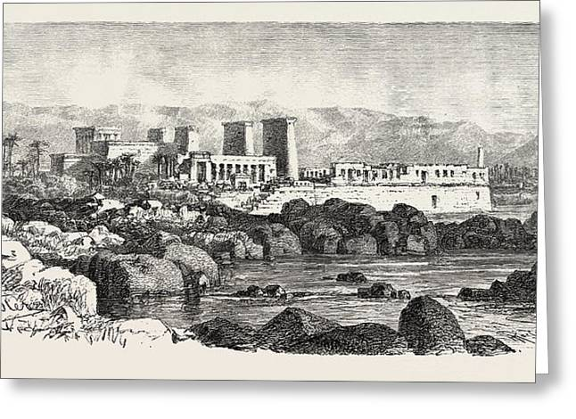 Philae. Egypt, Engraving 1879 Greeting Card by Litz Collection