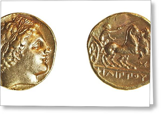 Philip II Gold Coin Greeting Card by Science Photo Library