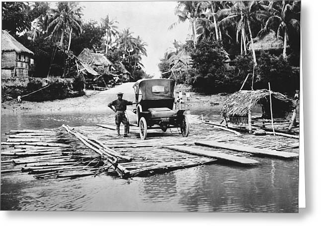 Philippines Bamboo Ferry Greeting Card by Underwood Archives