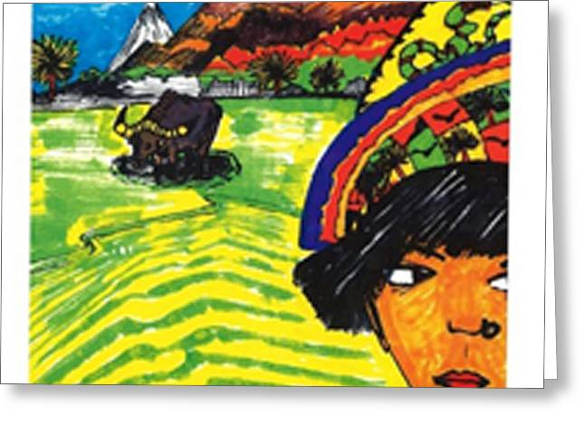 Greeting Card featuring the drawing Philippines Cariboo by Don Koester