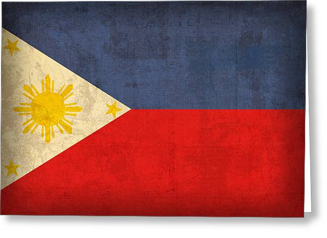 Philippines Flag Vintage Distressed Finish Greeting Card by Design Turnpike