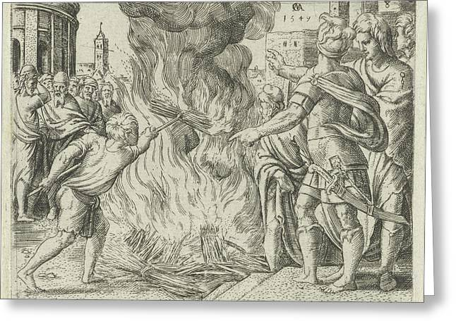Philistines Burned Samsons Wife And Father Greeting Card by Cornelis Massijs