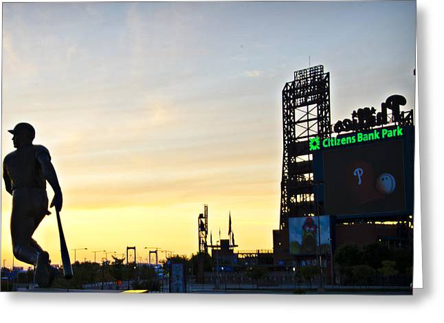 Phillies Stadium At Dawn Greeting Card by Bill Cannon