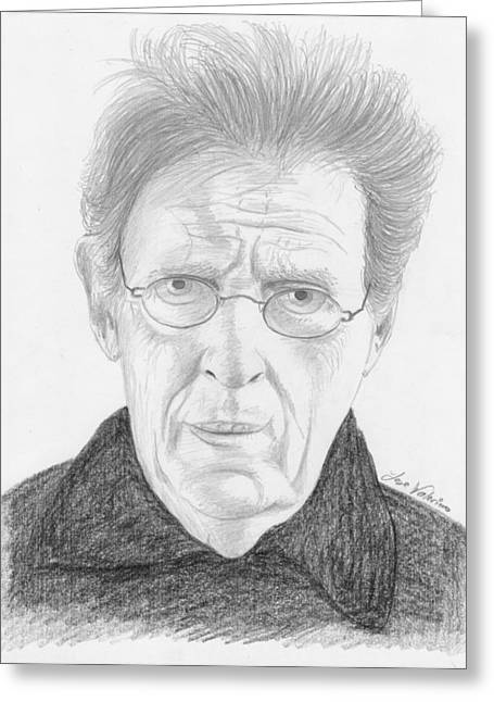 Phillip Glass Greeting Card by M Valeriano