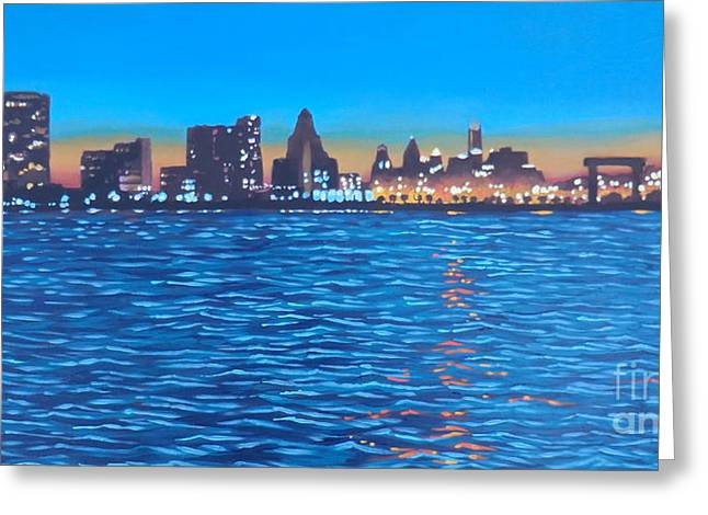 Philly Skyline Greeting Card by Elisabeth Olver