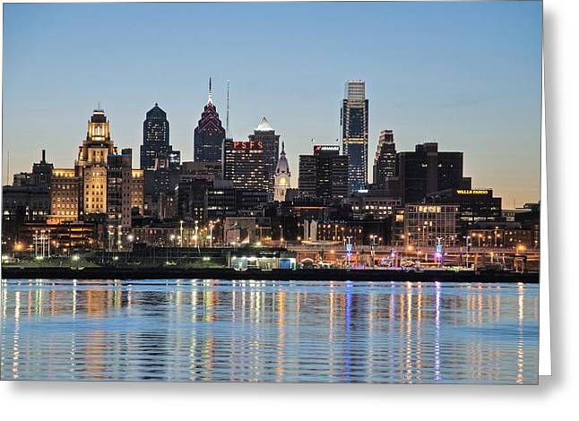 Philly Sunset Greeting Card by Jennifer Ancker