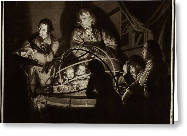 Philosopher Giving Lecture On The Orrery Greeting Card by Museum Of The History Of Science/oxford University Images