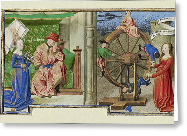 Philosophy Consoling Boethius And Fortune Turning The Wheel Greeting Card by Litz Collection