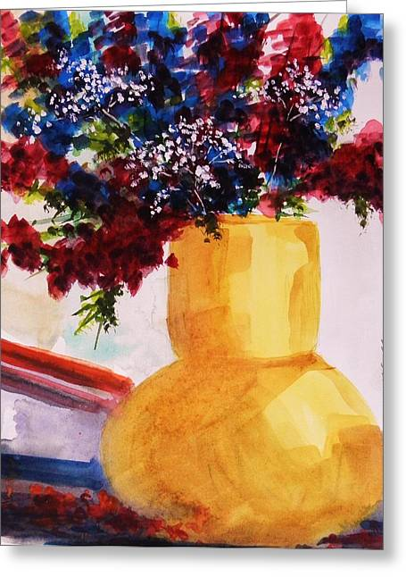 Phlox In A Vase With Babys Breath Greeting Card by John Williams