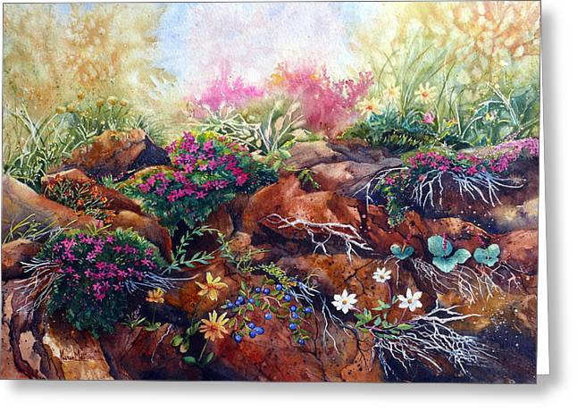 Greeting Card featuring the painting Phlox On The Rocks by Karen Mattson