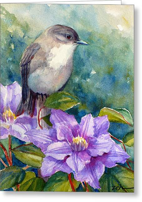 Phoebe And Clematis Greeting Card