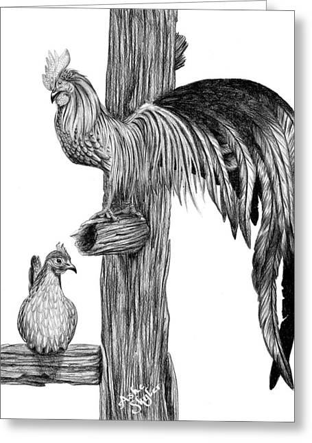 Phoenix Chicken Greeting Card by Ashe Skyler