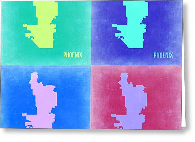 Phoenix Pop Art Map 1 Greeting Card by Naxart Studio