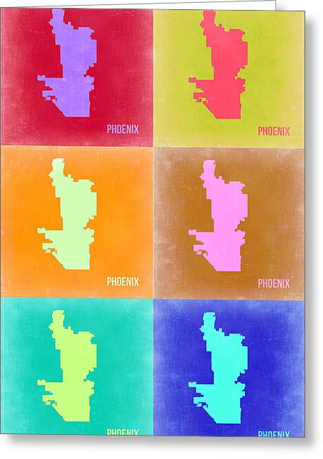 Phoenix Pop Art Map 3 Greeting Card by Naxart Studio