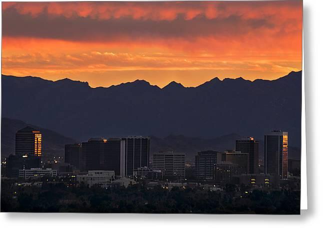 Phoenix Skyline At Sunset Greeting Card
