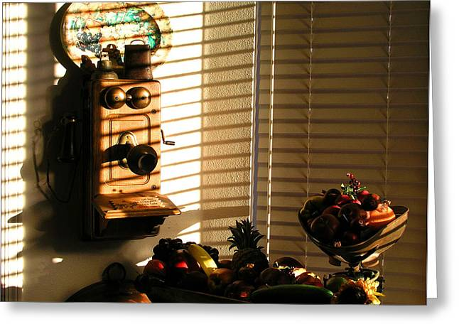 Greeting Card featuring the photograph Phone And Fruit by Craig T Burgwardt