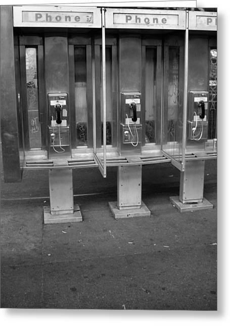 Phone Booth In New York City Greeting Card by Dan Sproul