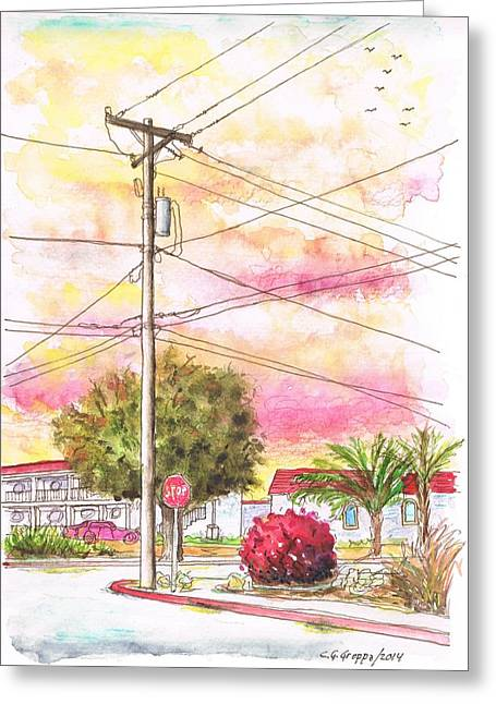 Phone Pole In Arroyo Grande - Californa Greeting Card