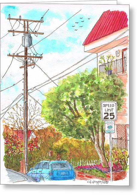 Phone Pole In Hancock Ave. And Holloway Dr. West Hollywood, California Greeting Card