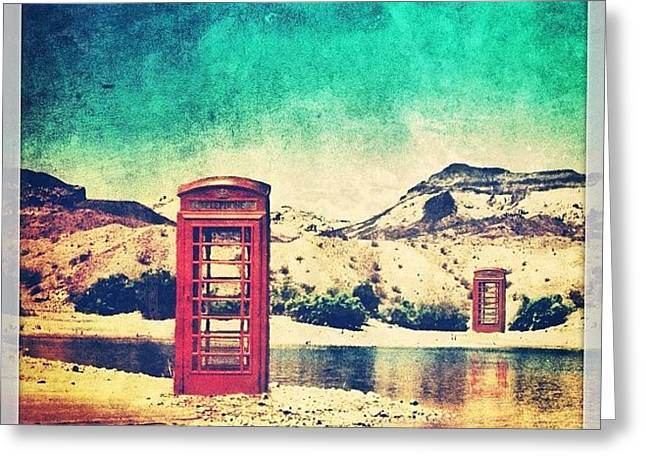 #phone #telephone #box #booth #desert Greeting Card