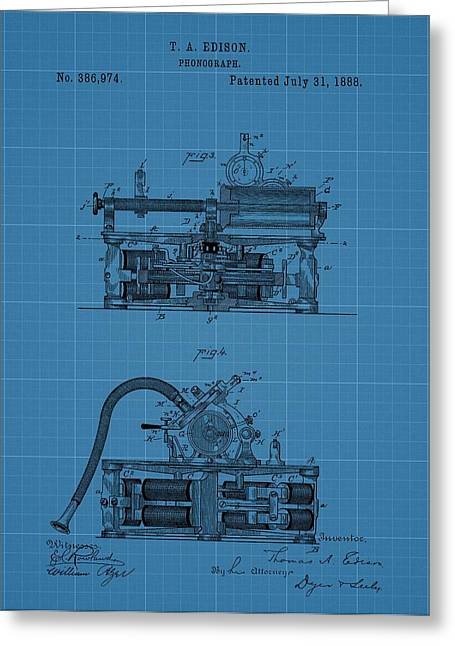 Phonograph Blueprint Patent Drawing Greeting Card by Dan Sproul