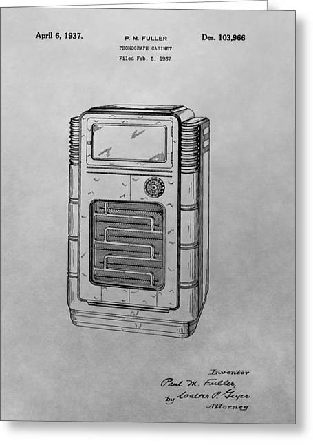 Phonograph Cabinet Patent Drawing Greeting Card by Dan Sproul