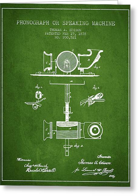 Phonograph Or Speaking Machine Patent Drawing From 1878 - Green Greeting Card by Aged Pixel