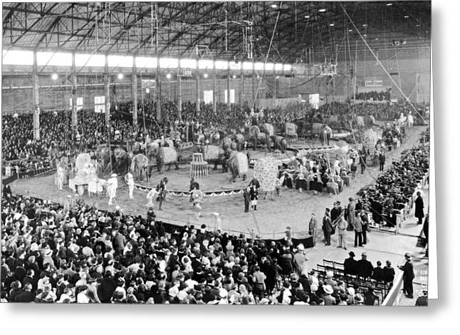 Photo Of A Five Ring Circus Greeting Card by Underwood Archives