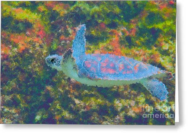 Photo Painting Of Sea Turtle Greeting Card by Dan Friend