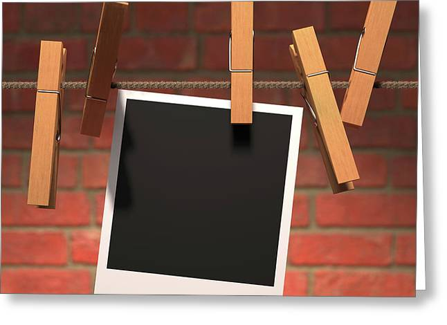 Photograph On Washing Line Greeting Card by Ktsdesign
