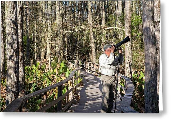 Photographer In A Nature Reserve Greeting Card by Jim West