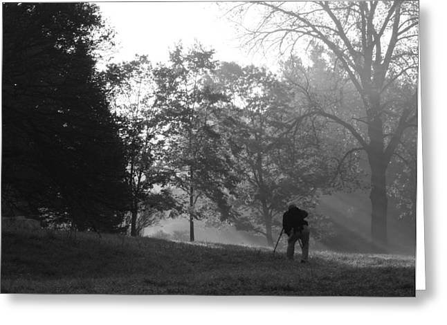 Greeting Card featuring the photograph Photographer In The Mist by Ed Cilley