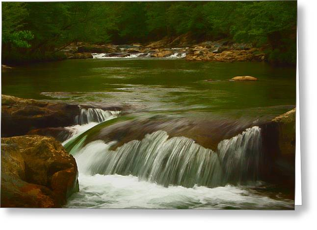 Photographic Painting Of Rushing Water Greeting Card