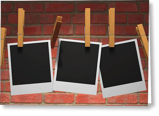 Photographs On Washing Line Greeting Card by Ktsdesign