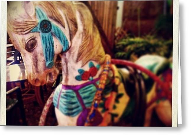 Blue Heaven Carousel Horse Greeting Card