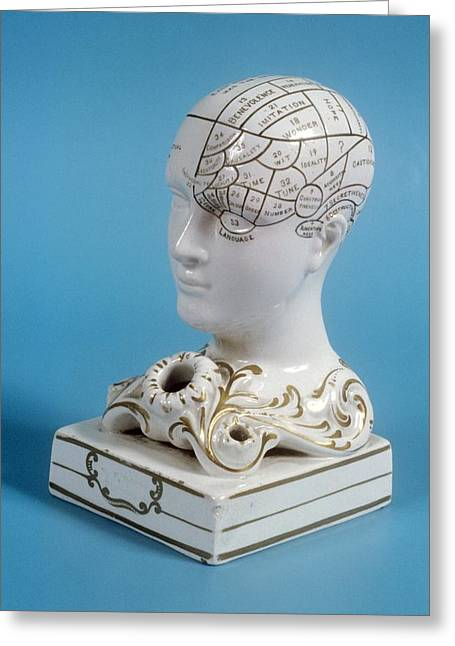 Phrenology Ink Well Greeting Card by Science Photo Library