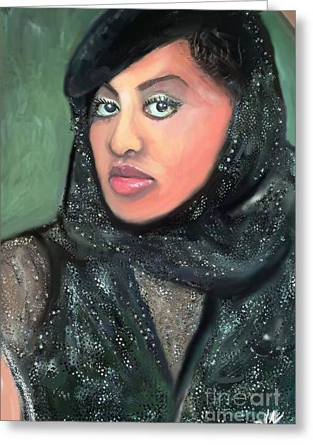 Greeting Card featuring the digital art Phyllis Hyman by Vannetta Ferguson