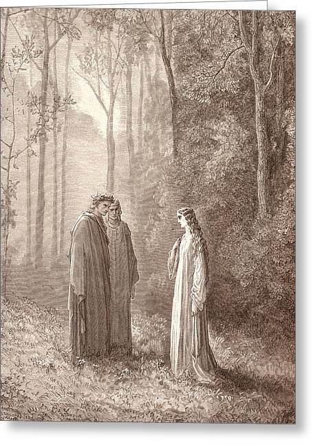 Pia In Purgatory, By Gustave DorÉ. Dore Greeting Card