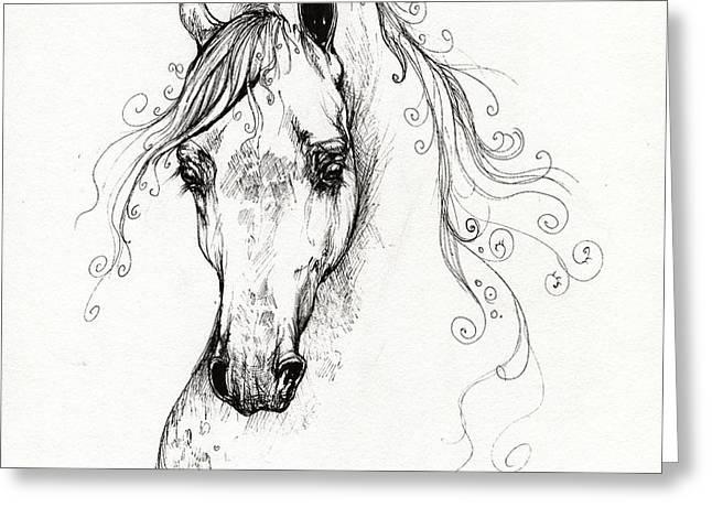 Piaff polish arabian horse drawing Greeting Card by Angel  Tarantella