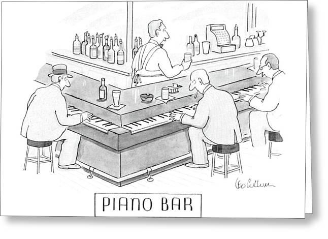 Piano Bar Greeting Card by Leo Cullum