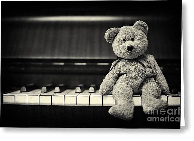 Piano Bear Greeting Card by Tim Gainey